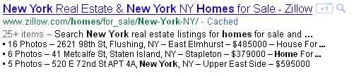 Google real estate rich snippet