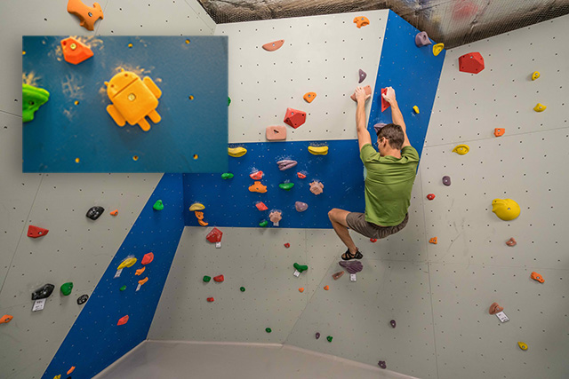 Google Zurich Rock Climbing With Android Climbing Holds