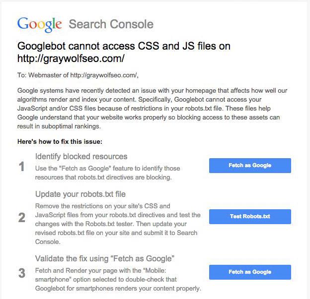 Google Warning: Googlebot Cannot Access CSS & JS