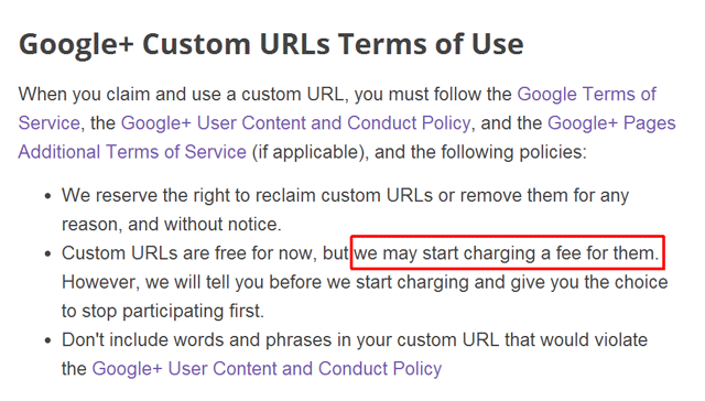 Google+ Custom URLs Fees