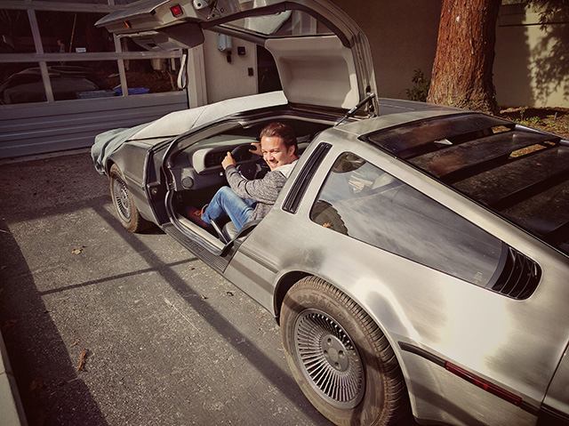 Googler Riding A DeLorean
