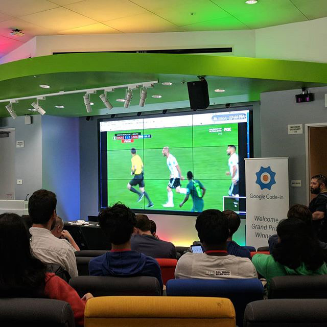 Google Employees Watching World Cup In Conference Room