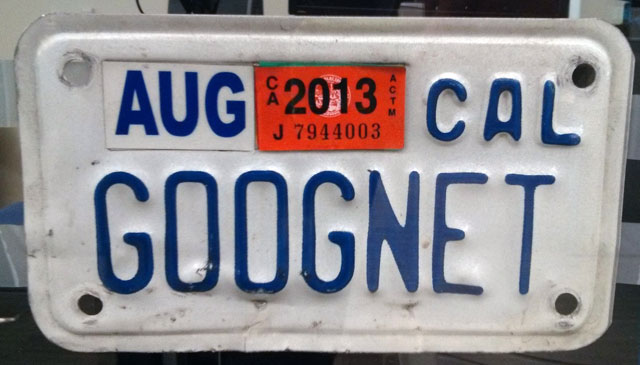 GOOGNET License Plate