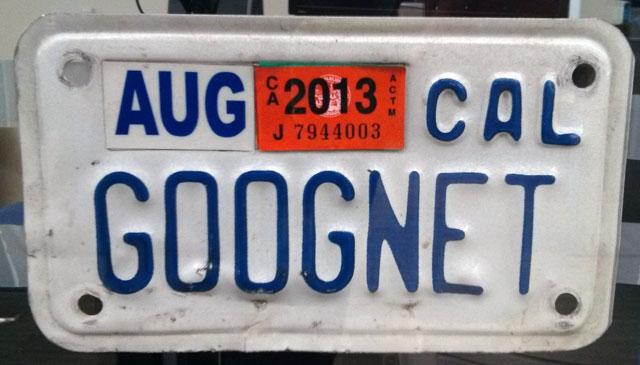 GOOGNET License Plate