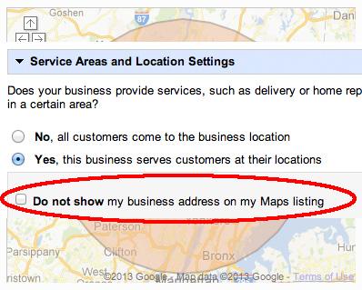 Google Maps: Do No Show My Address