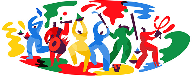 Colorful Google Logo For Holi