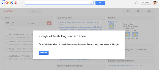 iGoogle's 30 Day Warning Before Closure