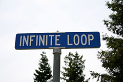 infinite loop street sign