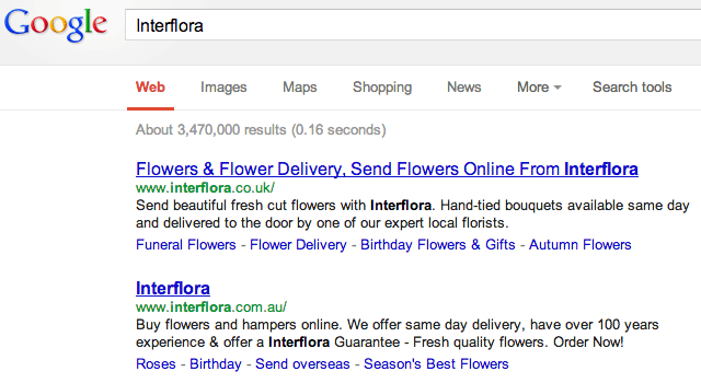Interflora in Google