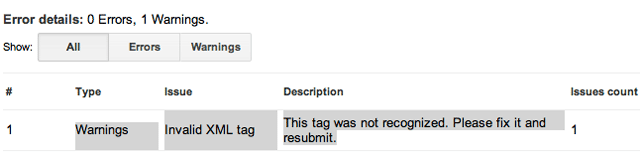 Invalid XML Tag Warning In Google Webmaster Tools