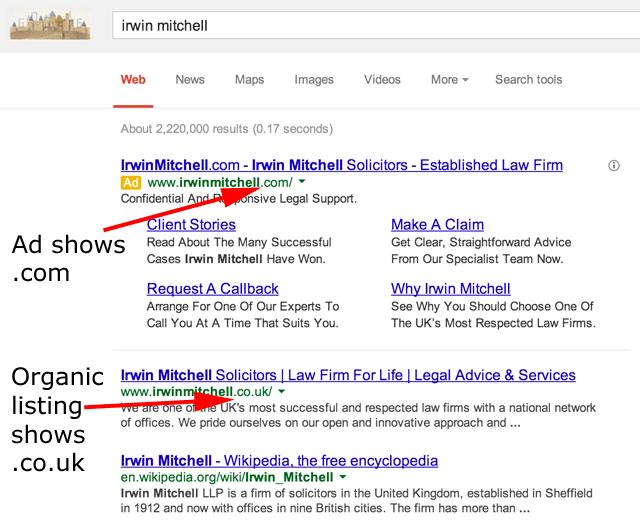 Irwin Mitchell's Google Ranking