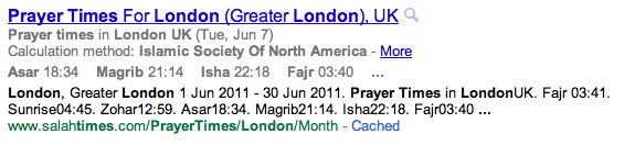 Islamic Prayer Times in Google
