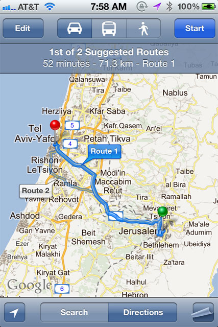 Google Maps Israel Directions