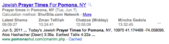 Jewish Prayer Times in Google