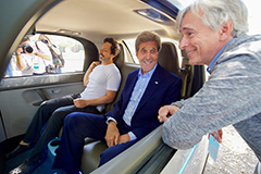 Secretary of State Kerry With Sergey Brin In Google Self Driving Car
