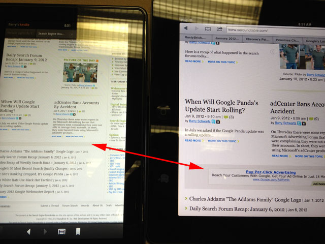AdSense on Kindle Fire vs iPad