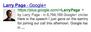 larry page google+ authorship