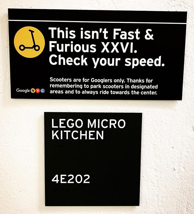 Google NYC LEGO Micro Kitchen Sign