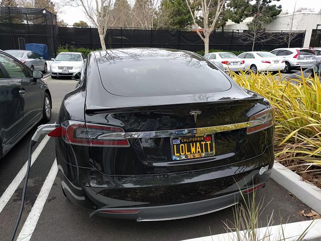 LOLWATT License Plate On Tesla At Google