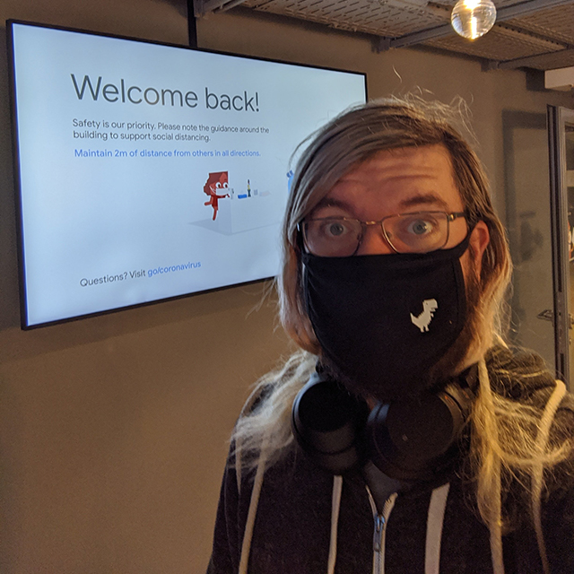 Masked Martin Splitt Visits Google Zurich Office