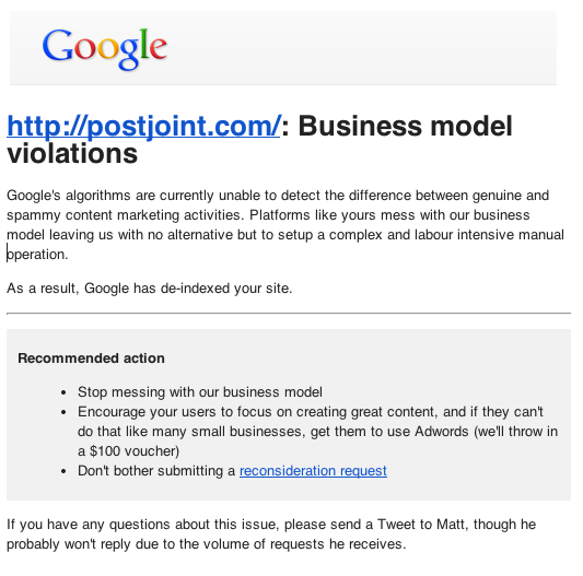 Google PostJoint Penalty Notification - Business Model Violations