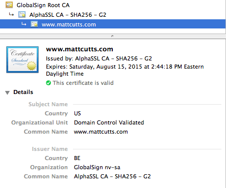 Matt Cutts Secure Certificate