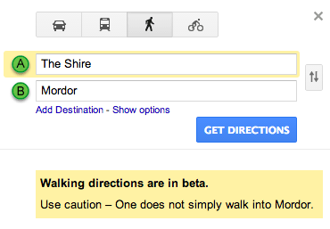 Google maps easter egg walking to mordor