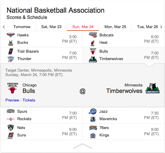 Google NBA Schedule