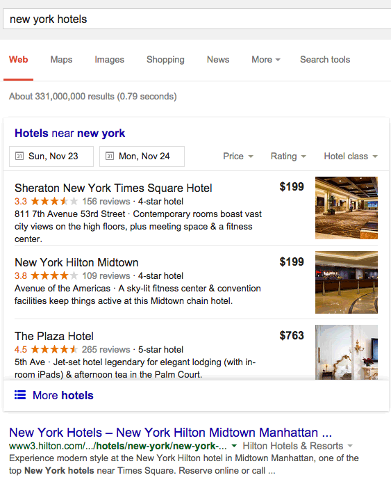 new york hotels google