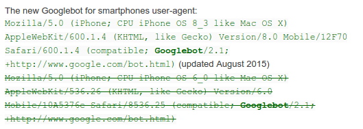 New: GoogleBot For Smartphones (iPhone) User-Agent