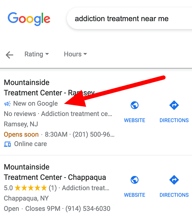 New on Google Local Search Results Label