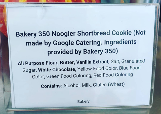 Google Noogler Cookies With Ingredients