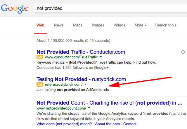 SSL AdWords Ad - Not Provided