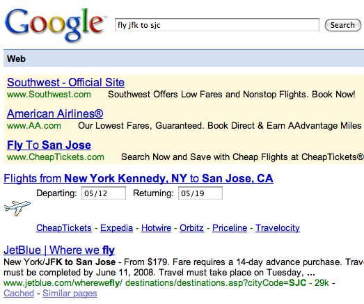 Old Google Flight Search