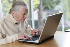 old lady using Google