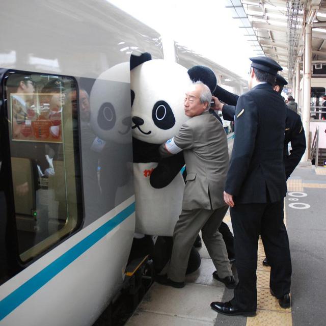 Panda Boarding A Train