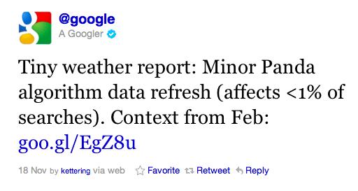 Google Panda Tweet