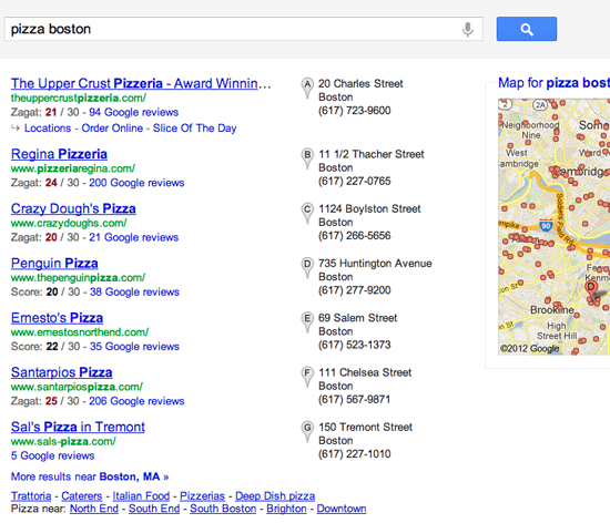 Google+ Local Zagat Scores