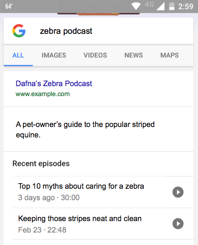 Google Rich Results For Podcasts