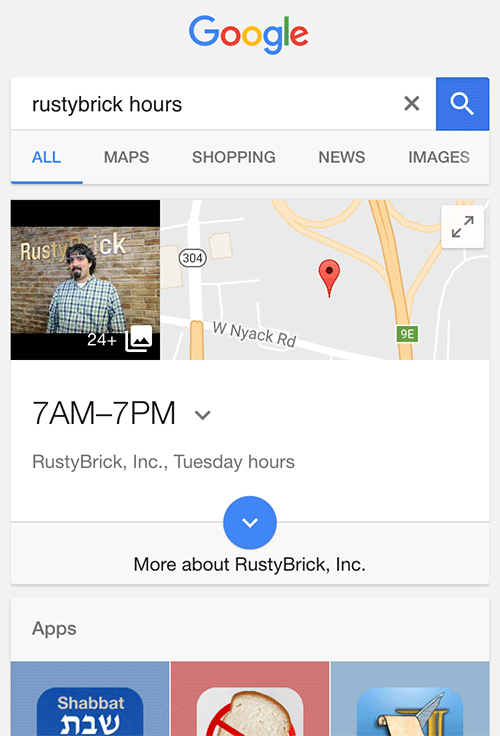 Google Local Results Showing Query Specific Data, Like Hours, Reviews, Phone & Address