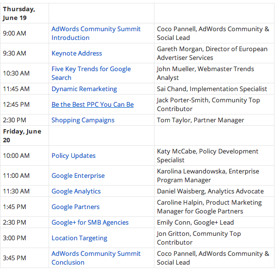 Google AdWords Summit Agenda