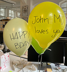 """SEO Work Colleagues Birthday Balloons Written With """"JohnMu Loves You"""""""