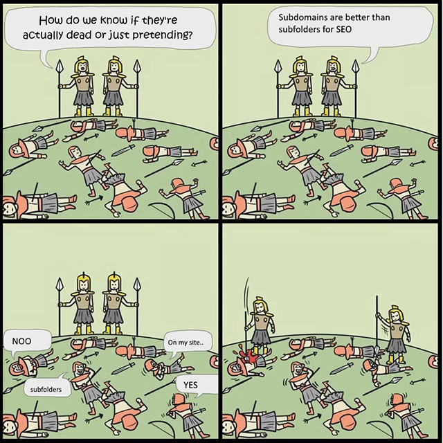 SEO Cartoon On Subfolders Vs Subdomains