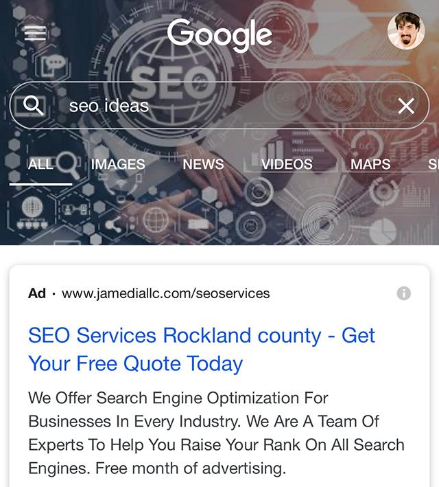 """Beispiel für einen Header passend zur Suchanfrage """"seo ideas"""" in der mobilen Google-Suche, Quelle"""
