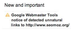 SEOmoz Google link warning