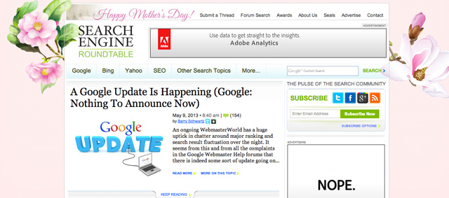 Search Engine Roundtable Mother's Day Logo 2013