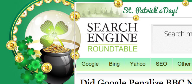 Search Engine Roundtable St. Patrick's Day Theme