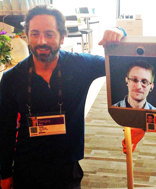 Google's Sergey Brin With Edward Snowden At TED