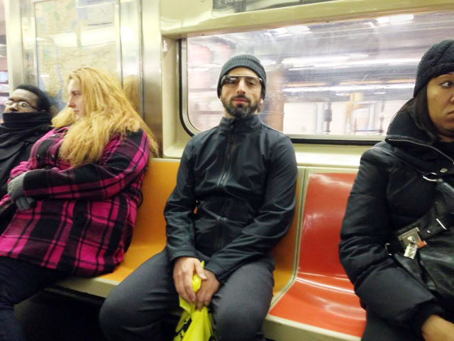 Google's Sergey Brin On NYC Subway With Google Glass