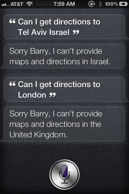 Siri Directions Outside USA